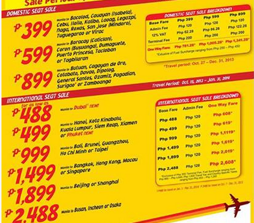 Cebu Pacific Promo 2013 for September, October, November, and December
