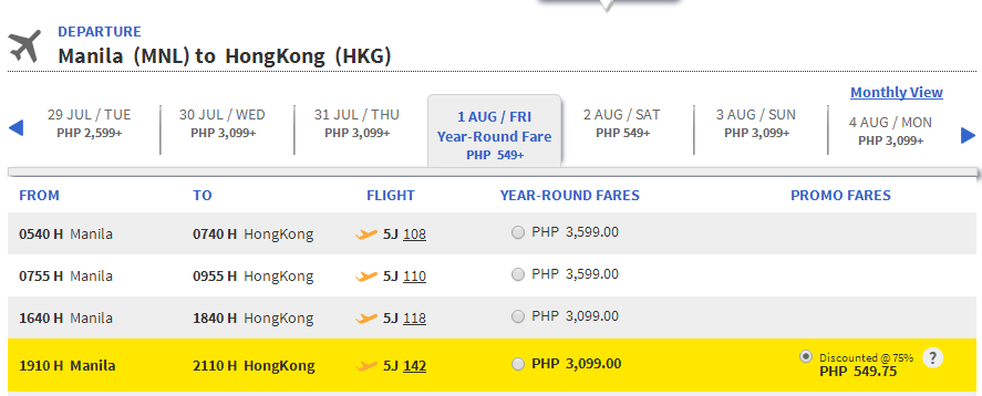 75% DISCOUNT on All Cebu Pacific Air International Destinations: June