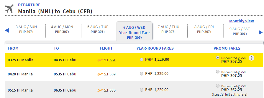 Cebu Pacific Promo Fare 2014