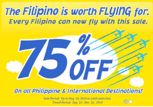 75%  Off on ALL Destinations by Cebu Pacific for September to December 2014