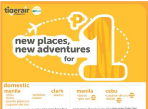 PISO FARE by Tiger Air for Current and New Destinations